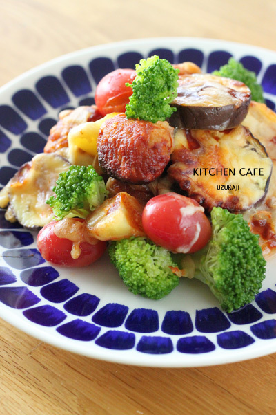 ハンバーグソースを使って♪肉団子と夏野菜グリル