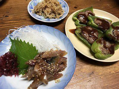 ごまさばとピーマンの肉詰め。しっぽくうどん。生姜の花?