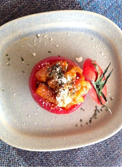 簡単 トマトのファルシ☆カレー風味