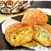 簡単■ ロールパン de 春キャベツと茹で卵の揚げパン ■TVご紹介レシピ♪(*´ω`)