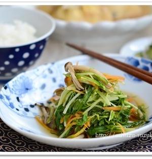 レンジで5分時短調理 水菜のレンジ煮浸し【作りおきレシピ】