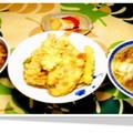 天丼にナメコおろし蕎麦