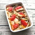 レンジで簡単日持ちする常備菜レシピ。鮭とトマトきのこのアヒージョ