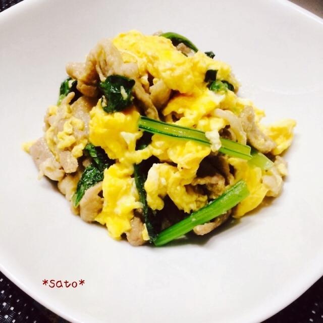ふわっ卵!豚肉と小松菜のオイスターソース炒め