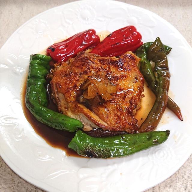 高級レストランみたいな野菜たっぷりチキンステーキ(鶏もも、鶏もも肉、鶏肉、ピーマン、とうがらし)