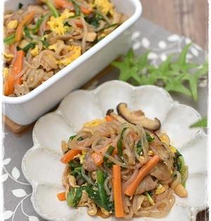 作りおき|お弁当にもオススメ|ヘルシー!野菜ときのこと糸こんにゃくの炒め物チャプチェ風