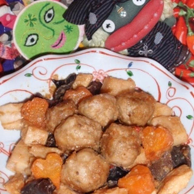 肉団子と筍のXO醤炒め&ちくわとキュウリの塩麹サラダ(お家カフェ)