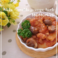 裏技10分やわらかチキンと筍のトマトソース煮