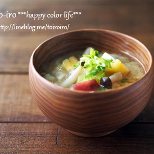 レンジふかし芋で時短調理★サツマイモとしめじのお味噌汁