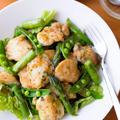 【アスパラガス】ハニマスドレもおすすめ!春野菜とガーリックハーブチキンのボリュームサラダ。