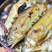 焼き筍入り鮎ご飯、山椒風味