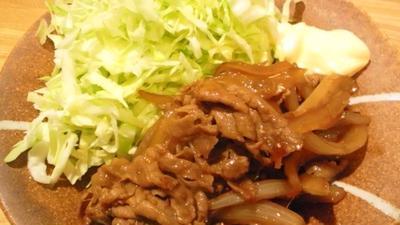 新たまねぎを使い、刻みキャベツたっぷりの、野郎飯流・豚の生姜焼き