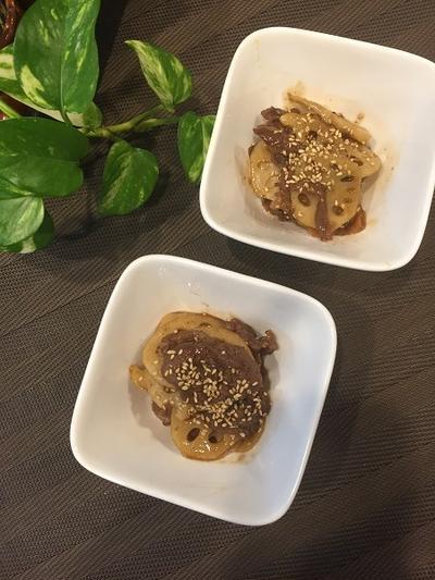 少しの食材でワンプレートランチ・・牛肉とレンコンのボリュームきんぴら!!