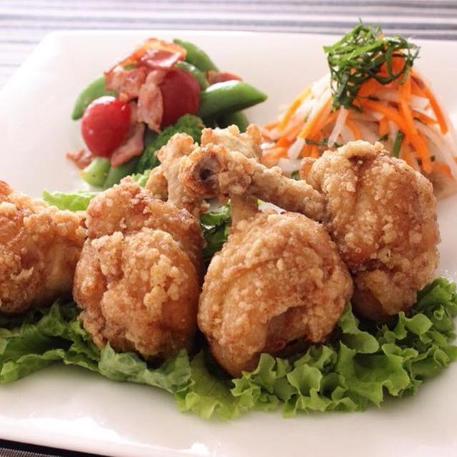作り方は簡単!手羽元チューリップ揚げ&さっぱり梅大葉サラダ&カリカリベーコンと野菜のソテー