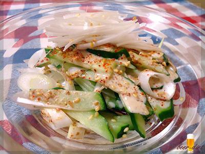 きゅうりとねぎのピリ辛ごまサラダ