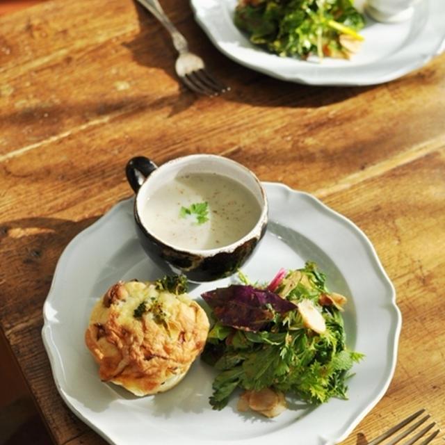 菊芋のスープ、お食事マフィン、季節の生野菜サラダ 人参ドレッシング  とか