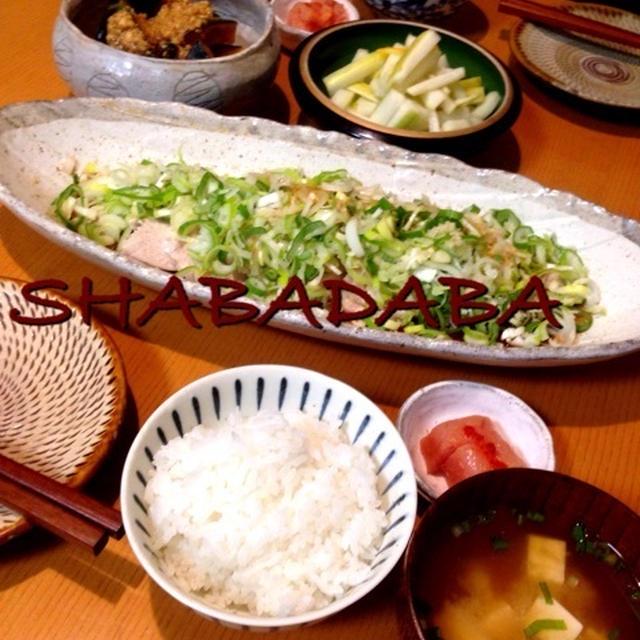 昨日の晩ごはん(柚子大根、南瓜の煮物そぼろ餡、塩蒸し鶏のネギ乗っけ盛り)