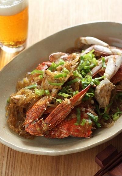 渡り蟹と春雨の炒め煮