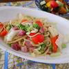 にんにくフワリ、ベーコンと野菜のパスタ