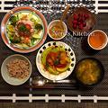 丸ズッキーニと赤パプリカの海老チリ・豚バラ冷しゃぶサラダほか