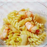 【レシピブログ】貝柱とエビのネギ塩マカロニサラダ ~早いは、おいしい♪マ・マー 早ゆでパスタで時間短縮☆レシピコンテスト!