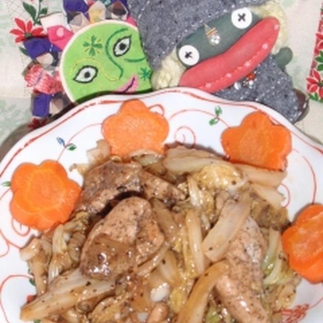 豚肉と白菜の黒酢煮&もやしと竹輪の辣油サラダ(お家カフェ)