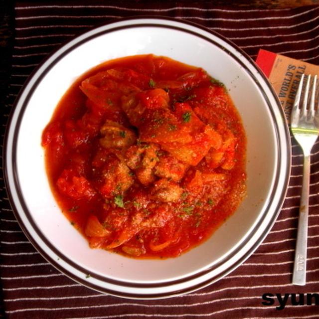 【簡単!!カフェごはん】鶏肉のトマト煮込み*フライパン1つで