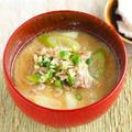 純米酒粕レシピ【豚肉とネギの酒粕味噌汁~薬味さっぱり】