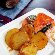 ~節約2食材でごちそう級!~鮭とじゃがいものめんつゆバター照り焼き