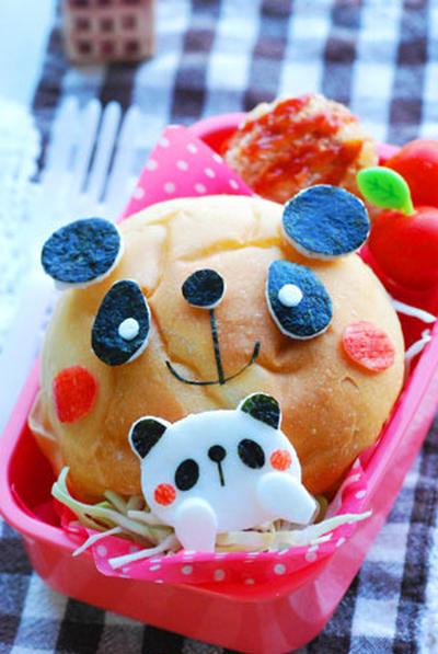 親子パンダのハンバーガー弁当