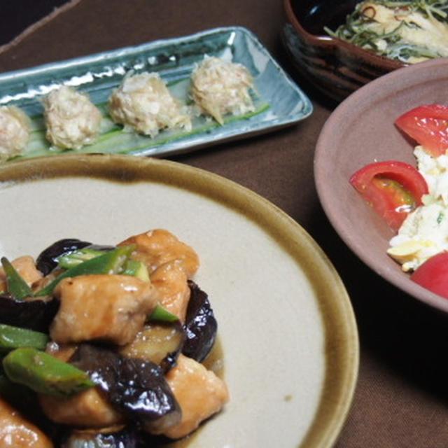 割れ湯葉の豆腐シュウマイ  秋鮭と茄子のポン酢からめ  ポテトサラダ  水菜とお揚げの炊いたん