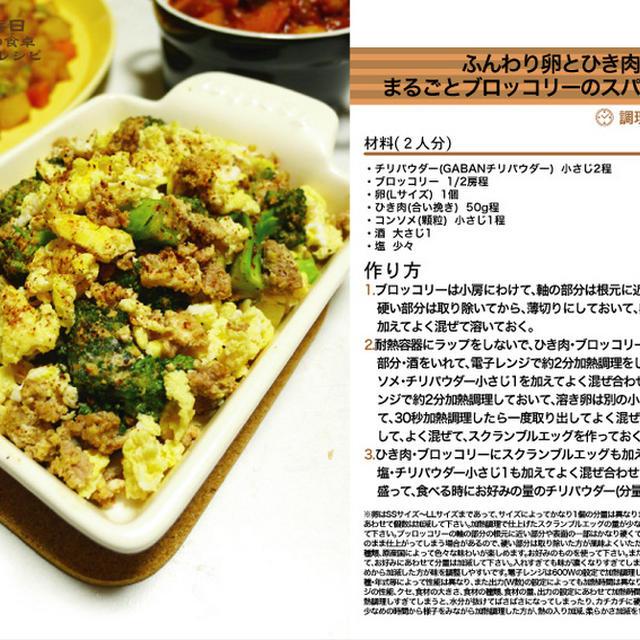 ふんわり卵とひき肉とまるごとブロッコリーのスパイシー和え 電子レンジ調理料理 -Recipe No.1261-