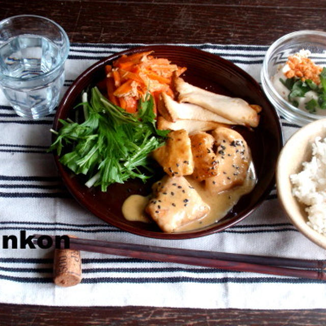 【めちゃめちゃ簡単!カフェご飯】鶏胸肉の味噌マヨネーズ焼き*定食