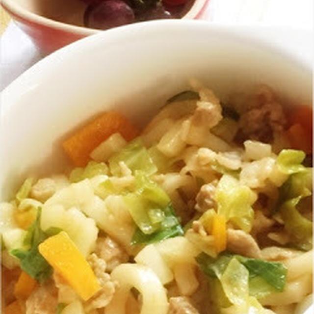254日目-3 うどん80g+豚肉+キャベツ+ねぎ+にんじん+いももち+卵豆腐+デラウェア