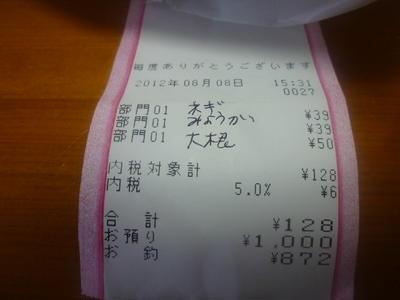8月買い出し合計 ¥8197円也