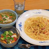 7月30日 木曜日 ロッシロック白♪と、生蛸とプチトマトの塩レモンマリネ&雲丹のトマトクリームスパゲティ