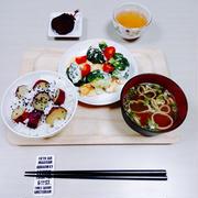 【おうちごはん*さつまいもごはんとブロッコリーサラダ&青梗菜炒め&手羽先のグリル焼き】