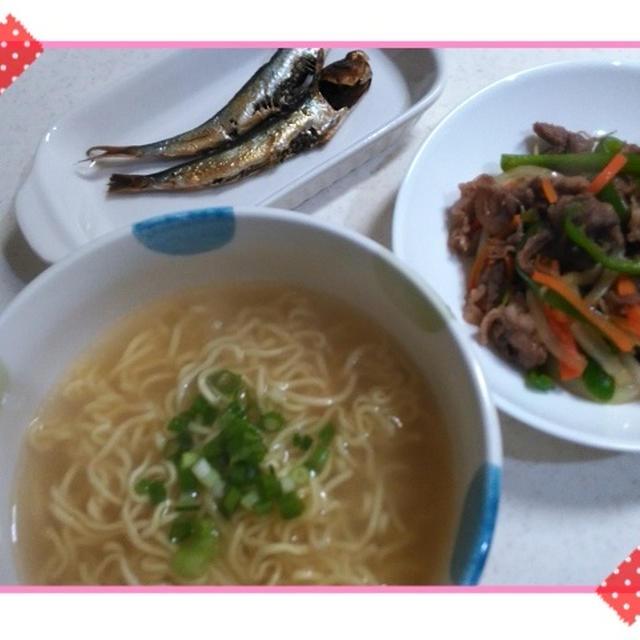 あっさり塩ラーメンと牛野菜焼きで晩御飯 / ミニタオルスタイぴったりでした!