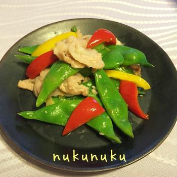 豚バラ肉とモロッコインゲンの塩麹炒め♪