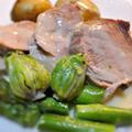 豚モモ肉とアスパラ、ふきのとうのクリーム煮込み