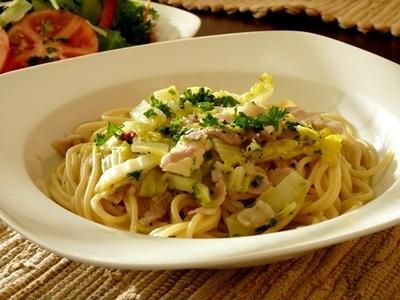 豚バラと白菜のペペロンチーノ風スープスパゲッティ