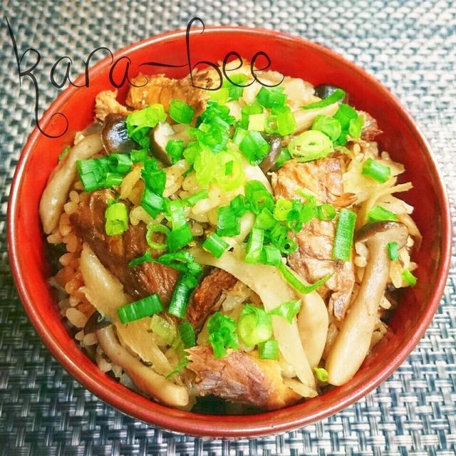 鯖味噌缶で簡単激ウマ中華風炊き込みご飯