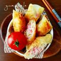 ♡餃子の皮de簡単♪アレンジおつまみ♡ふわふわはんぺんのチーズカニカマ揚げ♡