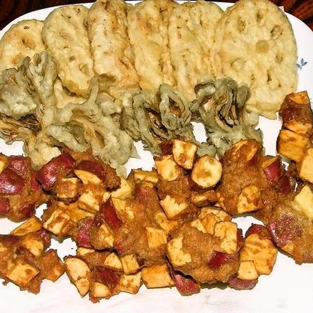 サツマイモのげんこつ揚げ&エノキ茸のカリカリソテー