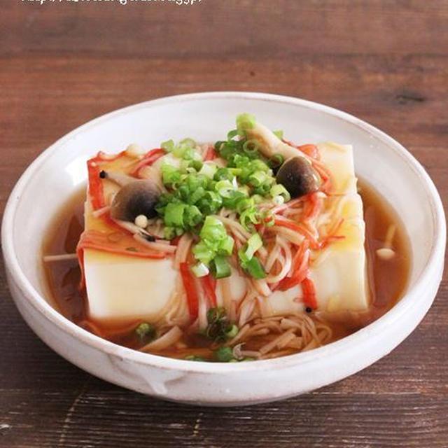 食欲のない暑い日も♡スルスル食べれる*レンジで簡単カニカマきのこあんかけ豆腐♡