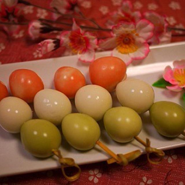 朝ごはんに♡お花見弁当に♡うずらで三色団子