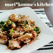 mari*レシピ: 鶏とえのき茸のねぎポン炒め(^^)v  ぱぱっとおつまみ♪