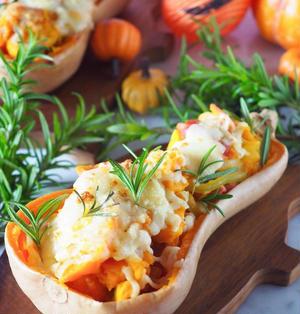 ♡バターナッツかぼちゃで♡かぼちゃとベーコンのスパイスグラタン♡