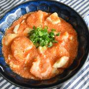 エビと豆腐の明太とろみ煮。ごま油を使わないあっさり中華。