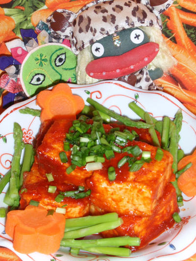 豆腐のコチュジャン焼き &レタスとトマトのナムルサラダ(お家カフェ)